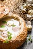 Sur soppa med korven och ägg Royaltyfri Bild