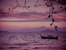 Sur un coucher du soleil Photo libre de droits