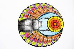 Sur un fond blanc, les couleurs lumineuses et colorées ont peint le scarabée noir appelé le scarabée illustration libre de droits