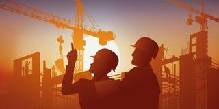 Sur un fond de coucher du soleil, un architecte donne ses instructions au directeur des travaux illustration de vecteur