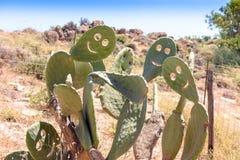 Sur un smiley de sourire de jour ensoleillé de cactus Photo stock