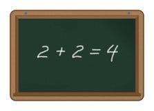 2+2=4 sur un tableau Image stock