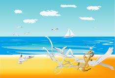 Sur une plage sauvage Photos libres de droits