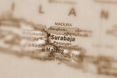 Surabaja, a city in Indonesia. Surabaja, a city in the Republic of Indonesia selective sepia focus royalty free stock image