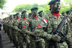 Surabaya indonesia. December 15, 2013. Indonesian army troops parade on the anniversary of the Indonesian army stock photos