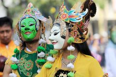 Surabaya indonesia. January 23, 2016. Two Indonesian traditional mask dancers. royalty free stock images