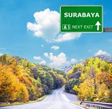 SURABAYA road sign against clear blue sky stock image
