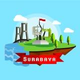 Surabaya-Stadt Scape-Vektor in der flachen Art Lizenzfreies Stockbild