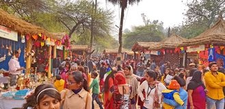 Surajkund Crafts Mela Fair. Surajkund, India - February 14, 2019: Visitors and local people are enjoying and shopping in Surajkund public craft fair in Surajkund royalty free stock photos
