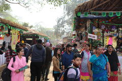 Surajkund, Faridabad, India. Visitors and local people are enjoying and shopping in Surajkund public craft fair in Surajkund, Faridabad, India royalty free stock photo