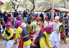 Surajkund International Crafts Mela, artist giving performance. Faridabad, Surajkund, India, February 2019 : 33 Surajkund International Crafts Mela,artist giving stock photography