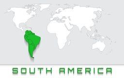 Suramérica en el mapa Imagen de archivo