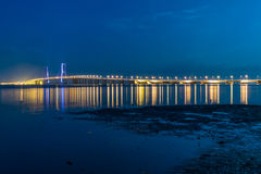 Suramadu Bridge at night. Suramadu Bridge is the longest bridge in Indonesia Stock Photos