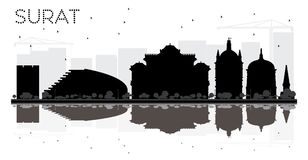 Surat City skyline black and white silhouette with reflections. Royalty Free Stock Photography