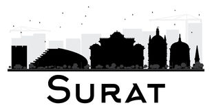 Surat City skyline black and white silhouette. Royalty Free Stock Photography