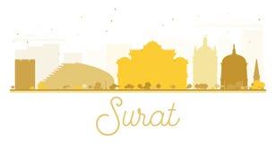 Surat City skyline golden silhouette. Stock Image