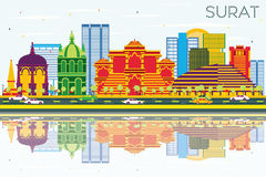 Surat Skyline with Color Buildings, Blue Sky and Reflections. Stock Photo