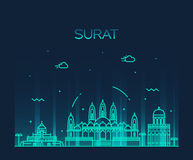 Surat skyline vector illustration linear style Royalty Free Stock Images