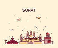 Surat skyline vector illustration linear style Royalty Free Stock Image