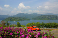 SURAT THANI, THAILAND - January 19, 2014: Ratchaprapha Dam in Kh Royalty Free Stock Image