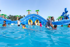 SURAT THANI, THAILAND - JANUARY 2 : The unidentified people in The Pirate water park Stock Photos