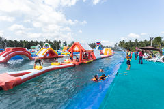 SURAT THANI, THAILAND - JANUARY 2 : The unidentified people in The Pirate water park Royalty Free Stock Photo