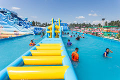 SURAT THANI, THAILAND - JANUARY 2 : The unidentified people in The Pirate water park Stock Image