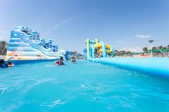 SURAT THANI, THAILAND - JANUARY 2 : The unidentified people in The Pirate water park Royalty Free Stock Image