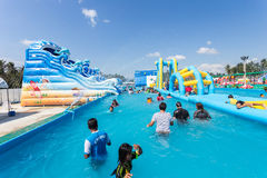 SURAT THANI, THAILAND - JANUARY 2 : The unidentified people in The Pirate water park Royalty Free Stock Photos