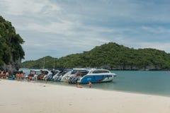 SURAT THANI, THAILAND - 26. SEPTEMBER 2017: nicht identifizierte touris Stockbilder