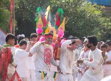 Surat Thani vegetarianfestival Arkivfoto