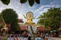 Suratthani, Thailand - December 31 : Visitors to the Buddha imag. E on New Year`s Day at Wat Phra Yai Big Buddha Temple Koh Samui Suratthani, Thailand Stock Image