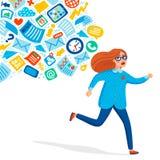 Surcharge d'entrée Concept de surcharge d'information Jeunes femmes courant à partir du courant de l'information le poursuivant C illustration de vecteur
