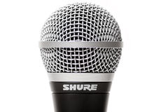 Sure SM58 Vocal microphone close up isolated Stock Image