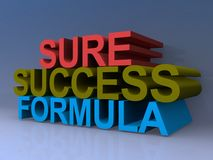 Sure success formula. Stack of colorful 3d words with the message sure success formula Stock Photo
