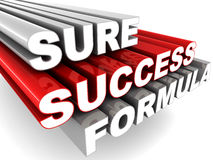 Sure success formula. Words sure success formula in glossy paint finish, white background, concept of business success tips Stock Photo