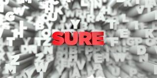 SURE - Texte rouge sur le fond de typographie - 3D a rendu l'image courante gratuite de redevance Photo libre de droits