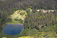 Sureanu Lake and cabin. From Sureanu Mountains, Romania Royalty Free Stock Photography