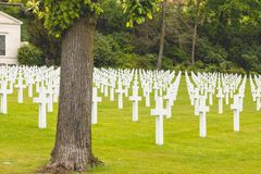 White cross alignment in the American military cemetery of Sures Stock Photos