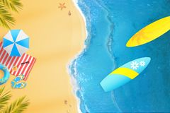 Surf from above. Summer beach fun composition with bright colors Royalty Free Stock Images