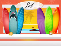 Surf accessories store Stock Image