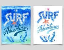Surf Adventures watercolor cards Stock Photos