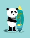 Surf along with the panda Royalty Free Stock Images