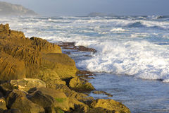 Surf along rocky coastline. Heavy surf and ocean waves on a rocky ocean coastline Stock Images