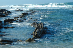 Surf along rocky coastline. Rough waves and high surf along a rocky shore or coastline Royalty Free Stock Images