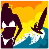 Surf And Girl Vector Royalty Free Stock Photos