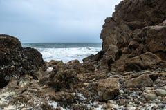 Dolomite rocks at seashore in Arches Provincial Park Newfoundland stock photo