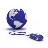 Surf around the world. Earth globe with a computer mouse royalty free illustration