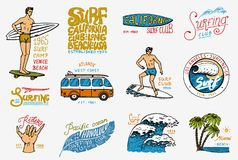 Surf badge and wave, palm tree and ocean. tropics and california. man on the surfboard, summer on the beach and the sea. Engraved emblem hand drawn. Banner or Royalty Free Stock Photography