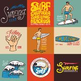 Surf badge and wave, palm tree and ocean. tropics and california. man on the surfboard, summer on the beach and the sea vector illustration